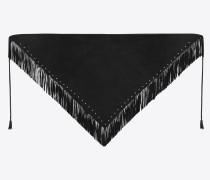 Dreiecksschal aus Veloursleder mit Fransen und sternförmigen Nieten