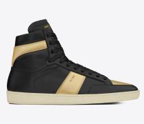 r signature court sl/10h high top sneaker aus schwarzem leder und goldfarbenem leder mit metallic-optik