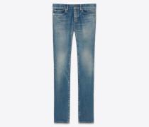 Blaue Skinny-Jeans aus Stretch-Denim mit Sandwaschung
