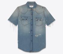 Kurzärmelige Western-Jeansbluse mit abgenutzter Optik