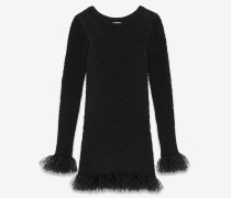 Smocked knit dress in silk with frilled tulle