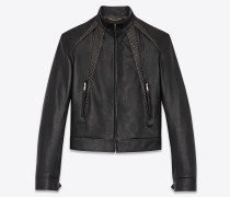 Studded bomber jacket in shiny grained lambskin