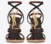 CASSANDRA wedge espadrilles in leopard printed pony effect leather and bronze logo