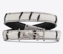 OPYUM double-wrap bracelet in zebra printed pony effect leather