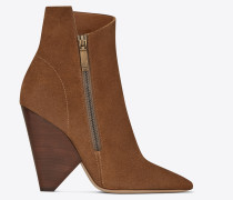 niki 105 asymmetrical ankle boot in nut suede
