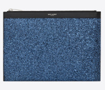 Saint Laurent Paris Tablet-Etui aus metallic-blauem Glitzer