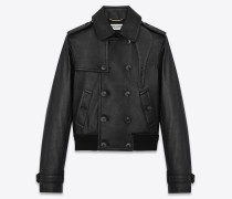 Jacket in grained lambskin with trench coat detailing