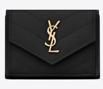 monogramme petite portemonnaie aus schwarzem leder mit struktur und steppnähten