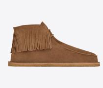 Nino 10 Stiefel mit Fransen aus tabakbraunem Veloursleder