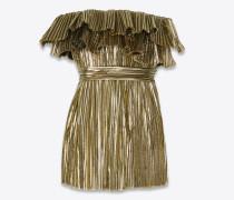Kleid mit plissiertem Bustier aus goldfarbenem Lamé