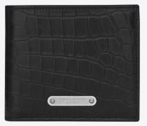id portemonnaie aus schwarzem leder mit krokodillederprägung und rundumreißverschluss