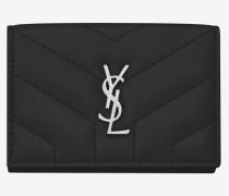 petite Loulou Portemonnaie mit Überschlag aus schwarzem Glanzleder mit Y-Steppnähten