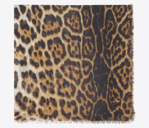 large square leopard scarf in beige and black cashmere etamine