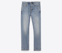 slim-fit-jeans aus denimblauem denim mit crop-bund und stickerei