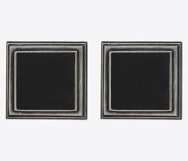 monumental square earrings in metal and enamel