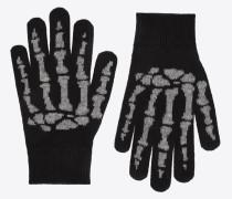 Handschuhe aus schwarzem und elfenbeinfarbenem Kaschmir mit Skelettmotiv