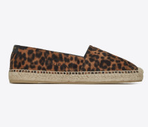 Saint Laurent embroidered espadrilles in leopard-print suede and leather