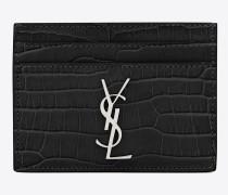 kreditkartenetui aus schwarzem lackleder mit krokodilprägung