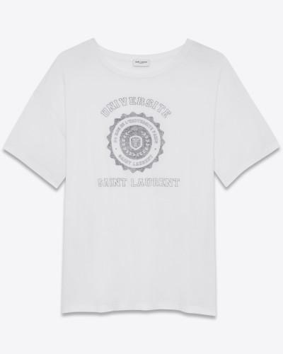 weißes saint laurent université oversize-t-shirt mit kurzen ärmeln