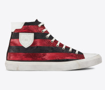 damen - Bedford halbhohe Sneakers aus rot-schwarz gestreiftem Lurex