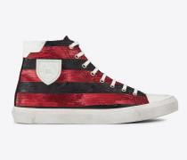 Bedford halbhoher Sneaker aus rot-schwarz gestreiftem Lurex