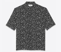 kurzärmeliges Hemd aus Viskose mit gesprenkeltem Leoparden-Muster
