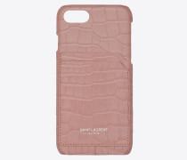 Etui für iPhone 8 aus sanft pinkem Glanzleder mit Krokodillederprägung