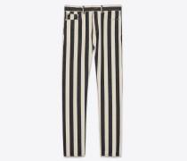 Straight-Cut-Jeans aus schwarzem und weißem Stonewash-Denim