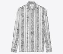 hemd aus weißer viskose mit bandanaprint und yves-kragen