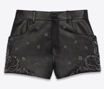 Shorts aus Lammleder mit Bandanastickerei