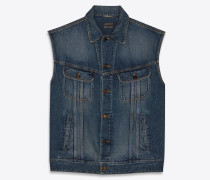 "Deep vintage blue SL24"" Sleeveless denim jacket  """
