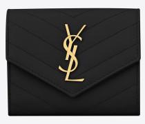 Kompaktes, dreifaches Monogramme Portemonnaie aus schwarzem Struktur- und Steppleder