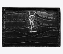 UPTOWN card case in shiny crocodile-embossed leather