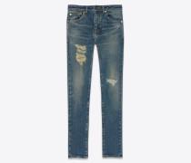 Skinny-Jeans aus blauem Denim mit abgenutzter Sandwasch-Optik