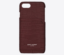 iPhone 8 case in crocodile embossed leather