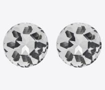 SMOKING stud earrings in metal and crystals