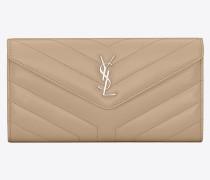 Großes Loulou Portemonnaie aus dunkelbeigem Glanzleder mit Y-Steppnähten
