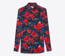 Bluse aus schwarzem, rotem und blauem Blumenjacquard