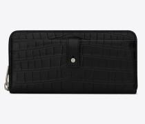 Sac de Jour Portemonnaie aus schwarzem Leder mit Krokodillederprägung mit Reißverschluss