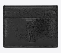 saint laurent kreditkartenetui aus schwarzem lackleder