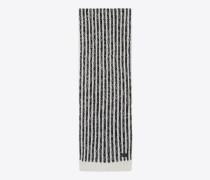 Gestreifter Schal aus schwarzem und elfenbeinfarbenem Wollstrick