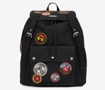 noe saint laurent rucksack aus schwarzem gabardine mit bunten patches