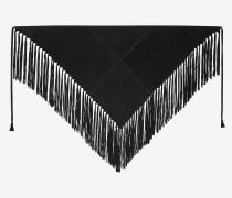 Dreieckiger Schal aus schwarzem Velours mit Fransen