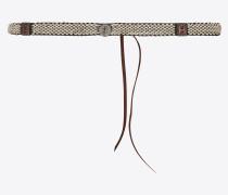 geflochtener und geknüpfter gürtel aus braunem leder und weiße email
