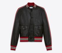varsity-jacke aus glänzend schwarzem und rotem leder