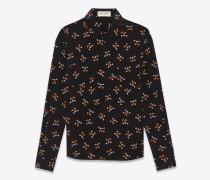 Klassische Hemdbluse aus schwarzem Crêpe-de-Chine mit Micky Maus Applikation