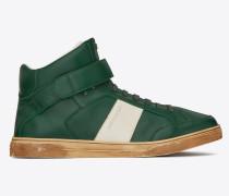 Max halbhoher Sneaker aus grünem Leder mit Klettverschluss