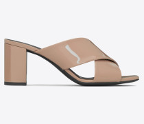 loulou 70 OPEN BACK SANDAL IN beige rosé patent leather