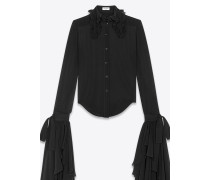 Washed silk shirt with oversized sleeves