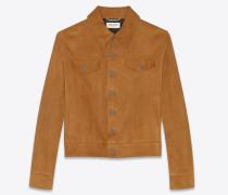 Jacke im Jeansjackenstil aus whiskyfarbenem Veloursleder
